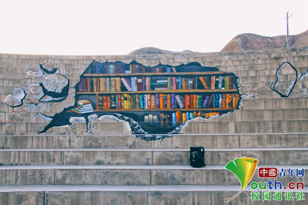 大学生3D涂鸦将台阶变身 学生:毕业纪念照有着落了