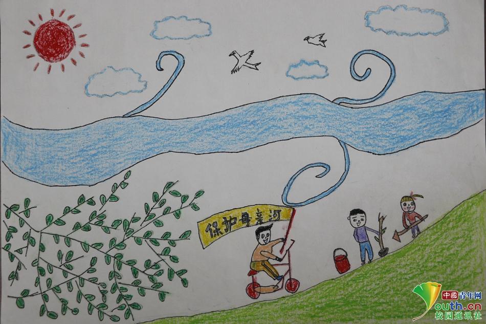 保护母亲河手绘