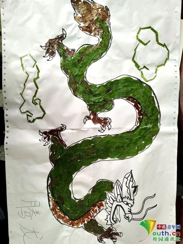 大学生用落叶树枝制作贴画