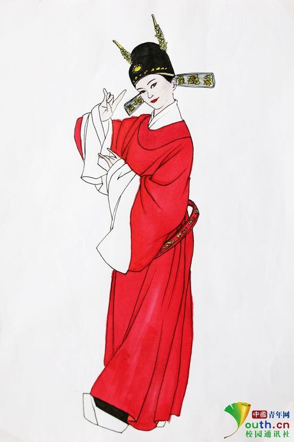 山西大学生手绘戏剧人物形象 品味戏曲之美