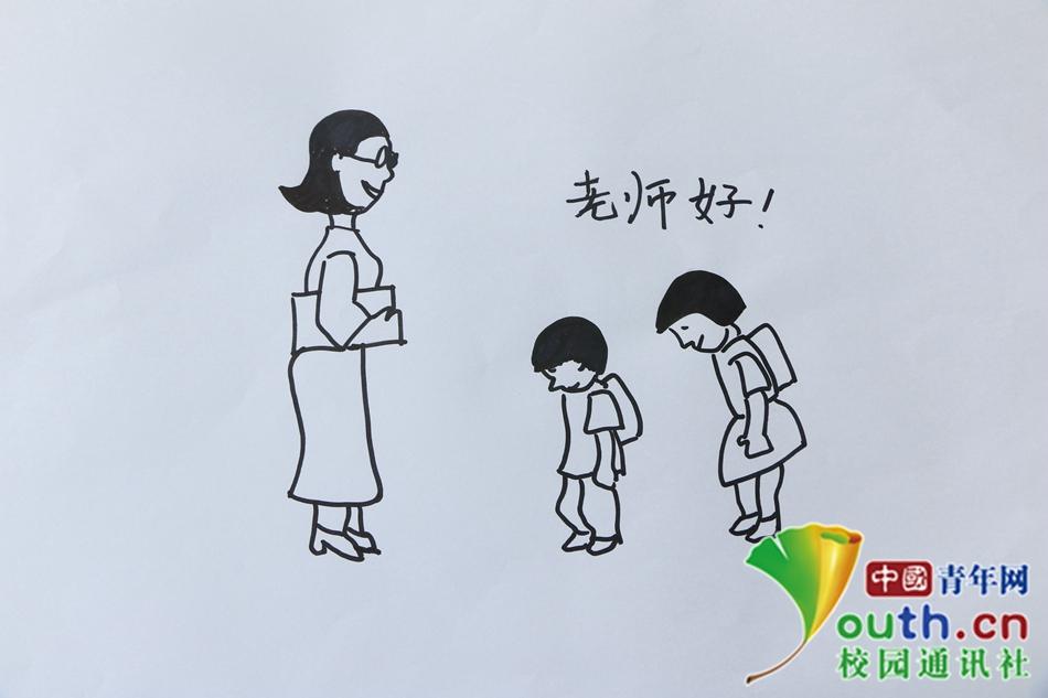 小学第一课,见到老师要问好.中国青年网通讯员 李灵芝 摄