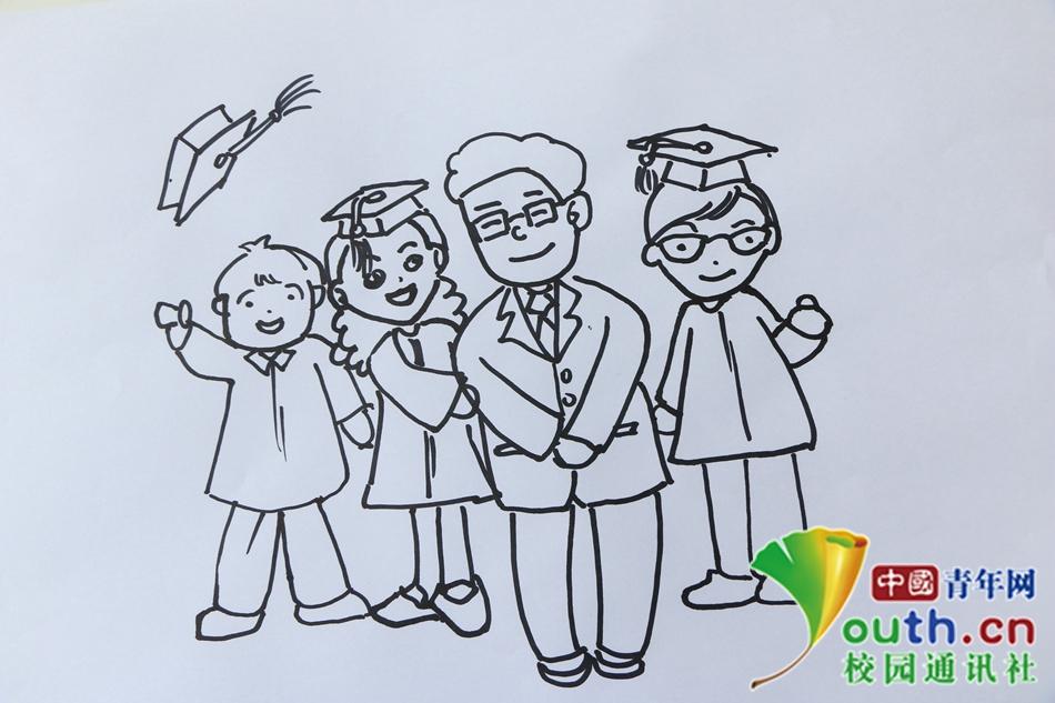 湖师大树达学子手绘漫画感恩教师节图片