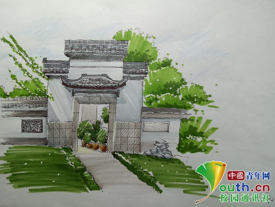 安徽高校大学生手绘校园风景 表白学校_图片频道