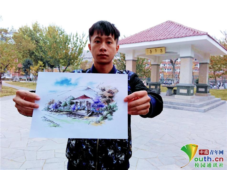 """淮北师大学子""""手绘""""校园风景 创意满载青春记忆"""